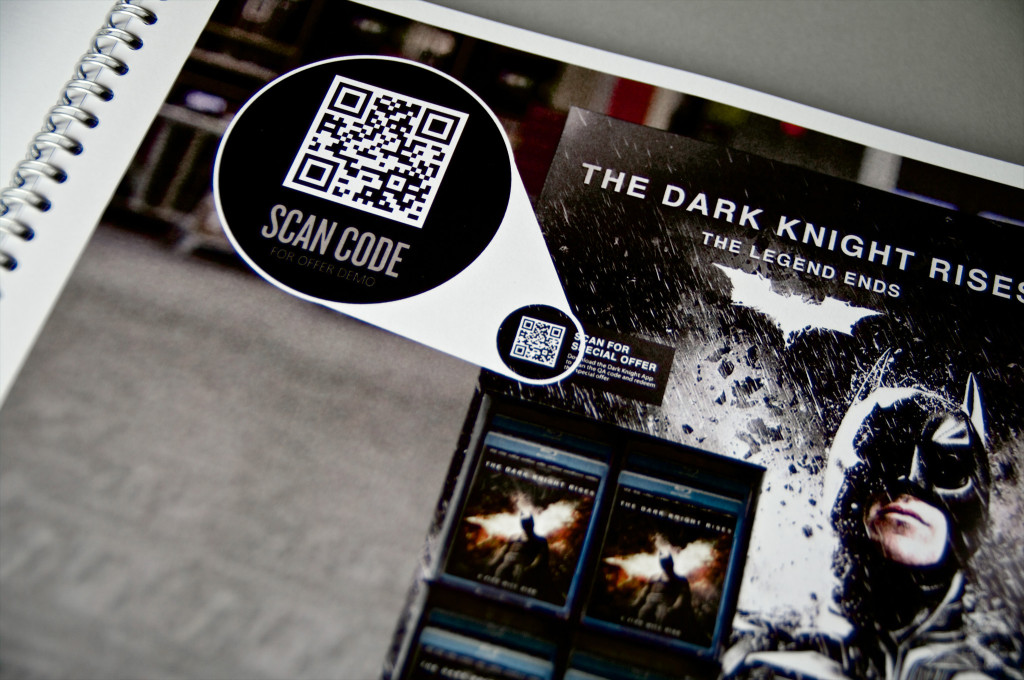 Dark Knight Rises Blu-Ray display with QR code